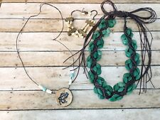 Jewelry Lot Western ~ Necklaces & Bracelets ~ Moose Charm, Unique Green Necklace