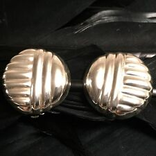 Design Design Clip On Earrings 7/8� Vintage Estate Sterling Silver Ribbed Circle