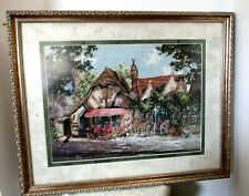 "THOMAS KINKADE FINISHED & FRAMED COUNTED CROSS STITCH ""TUCK BOX TEA ROOM"""