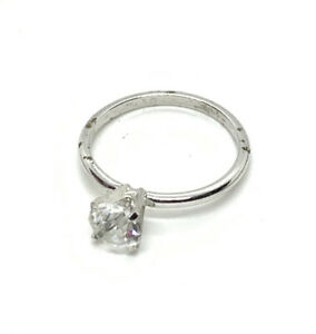Beautiful Vtg CZ Stone Size 9.5 Engagement Ring Silver Plate