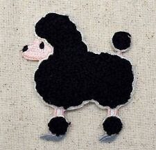 Iron On Embroidered Applique Patch Black Chenille Poodle Dog