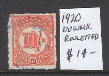 Tasmania: 10/ Stamp Duty 1920 No Wmk Rouletted Used