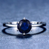 1.6ct Round Cut Blue Sapphire Engagement Ring 14k White Gold Finish Solitaire