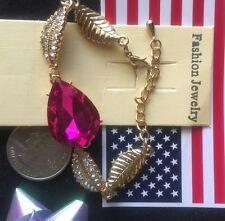 14K White Gold Filled Austrian Crystal Pink Drop Bracelet Bangle women's Gift Je