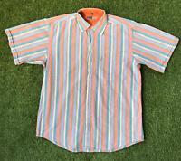 90s Vintage DUBBIN & HOLLINSHEAD Mens 90s Stripe Shirt Large L | Short Sleeve