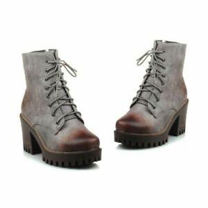 Women's Retro Shoes Chunky High Heel Zip Round Toe Platform Ankle Combat Boots