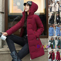 Women Girl Winter Mid-Length Jacket Down Cotton Hooded Puffer Coat Parka UK S-XL