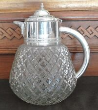 Vintage Diamond Cut Glass Pitcher With Silver Top And Inside Ice Holder