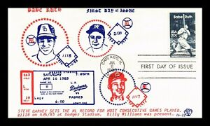 DR JIM STAMPS US BABE RUTH BASEBALL FDC COVER STEVE GARVEY BILLY WILLIAMS