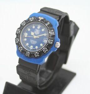 VINTAGE TAG HEUER Formula 1 Pro Date Blue Dial Quartz Mens Watch 381.513 #W205