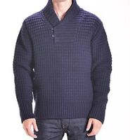 Schott SW1372  Navy Men's Wool Blend Pullover Waffle Knit Sweater Size MEDIUM