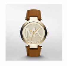 NIB Michael Kors MK2398 Womens Gold-Tone Leather Watch