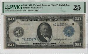 1914 $50 Federal Reserve Note Currency Philadelphia FR.1035 PMG Very Fine VF 25