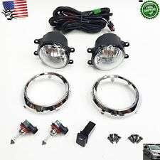 Fog Driving Light Kit w/ Chrome Trim Wires Bulbs For 2011-2017 Toyota Sienna SE