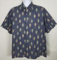 Tori Richard Hawaiian Shirt Men's L Short Sleeve Button Front Blue Cotton Floral