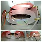 New CLASSIC VINTAGE RETRO Style SUN GLASSES Gold Rimless Frame Pink  Clear Lens