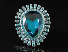 TEARDROP TEAL COCKTAIL FASHION COSTUME RING AUSTRIAN RHINESTONE CRYSTAL B1739T