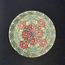 c1980s Ceraplant China Handmade Small Plaque- Flowers Red/ Green: Dia 11.3cm