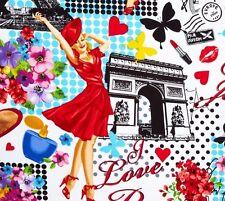 PARIS ~ Eiffel Tower ~Arc de Triumph ~ France ~ Pin Up Girls ~ Fabric~ 1/2 yard