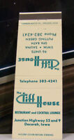 Rare Vintage Matchbook Cover K2 Decorah Iowa Cliff House Restaurant Lounge Junct