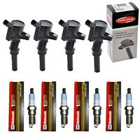Set of  4 Motorcraft Spark Plugs + 4 Delphi Ignition Coils Ford Lincoln Mercury