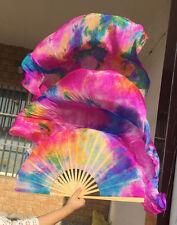 1 pair(L+R) 100%Real silk belly dance fan veil rose tie-dye 1.8m