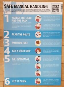 Safe Manual Handling Guidance Poster Laminated 420mm x 594mm