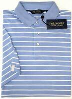 NEW $89 Polo Golf Ralph Lauren Blue Striped Short Sleeve Shirt Mens Wicking NWT