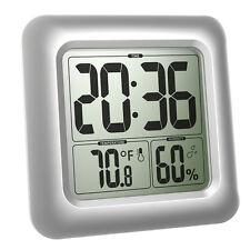 argento orologio digitale impermeabile PARETE BAGNO DOCCIA Temperatura Umidità