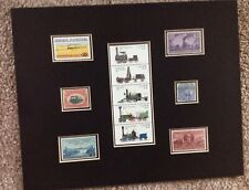 MATTED 8X10 UNUSED U.S. POSTAGE STAMPS SHOWING 11 EARLY TRAINS & LOCOMOTIVES