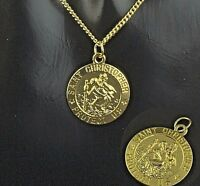 """NEW Gold Plated st Christopher Pendant Mens Chain Womens Necklace (16"""" to 30"""")"""