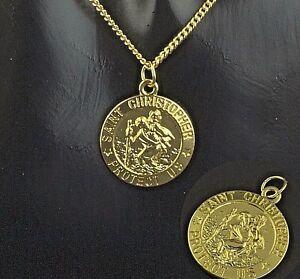 "16"" - 30"" Gold Plated st Christopher Pendant Men Chain Women Necklace 40 - 76 cm"