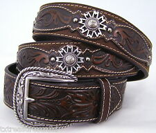 ARIAT belts men's casual western accessories BROWN LEATHER CONCHO BELT 46 NWT!