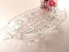Clear Pressed Glass Divided Dish Candy Nut Relish Serving Bowl Vintage 1950's