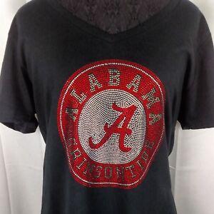 Women's Alabama Crimson Tide Rhinestone Football T Shirt Tee Bling Roll Tide