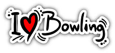 "I Love Bowling Slogan Car Bumper Sticker Decal 6"" x 3"""