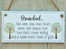 Handmade Stepdad Fathers Day plaque Grandad heart gold Grandfather Gift Sign dad