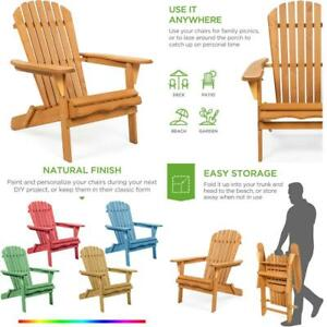 Adirondack Chair Wooden Foldable Outdoor Patio Garden Pool Deck Lounge Furniture