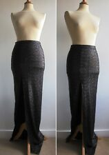 ASOS Black Sequined Maxi Skirt Sexy Deep Front Split Party Evening Wear Size 8