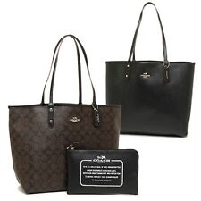 New Coach F36658 Reversible City Tote In Signature Brown Black NWT