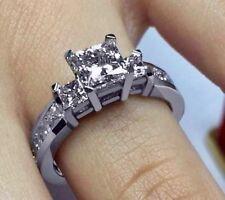 1.80CT G COLOR PRINCESS CUT DIAMOND ENGAGEMENT WEDDING RING 14K WHITE GOLD PD91G
