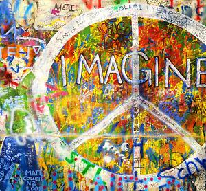 graffiti street art Print A1 poster painting john lennon imagine murel licensed