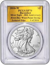2016 W SILVER EAGLE PCGS SP70 FDOI 30TH ANNIVERSARY LETTERED EDGE GOLD FOIL