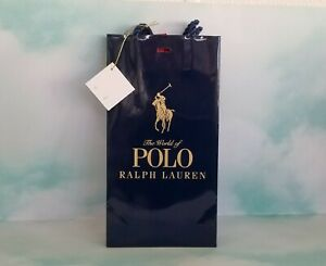 "The World of Polo Blue Ralph Lauren Gift Bag 5""W x 9.5""H x 2""D New"