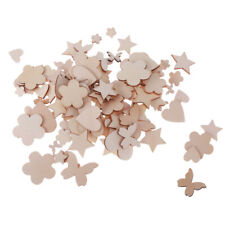 100x Assorted Unfinished Wooden Cutout Shapes Embellishments for Crafts