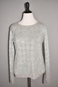 MAGASCHONI NEW $378 Embellished Rhinestone Cashmere Pullover Sweater Large