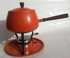 Vintage Orange Fondue Pot Set Midcentury Wooden Handle Metal Modern Burner Tray