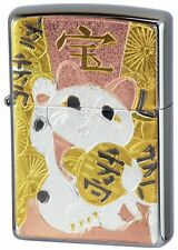 Zippo Manekineko Koban Money Lucky Cat Kanji 宝 Electroforming Japan Limited F/S
