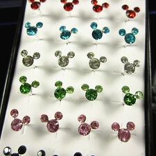 Wholesale 40pcs Silver Mickey Mouse Crystal Ear Stud Earrings