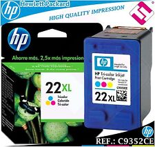 Ink Tricolour 22XL Original Printers HP Cartridge hewlett packard C9352CE